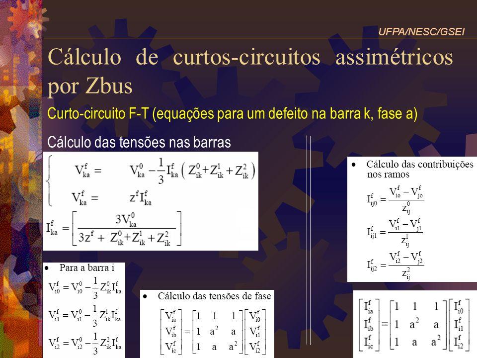 Cálculo de curtos-circuitos assimétricos por Zbus Curto-circuito F-T (equações para um defeito na barra k, fase a) Cálculo das tensões nas barras UFPA