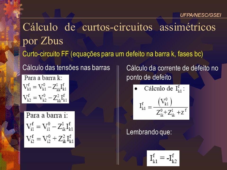 Cálculo de curtos-circuitos assimétricos por Zbus Curto-circuito FF (equações para um defeito na barra k, fases bc) Cálculo das tensões nas barras UFP