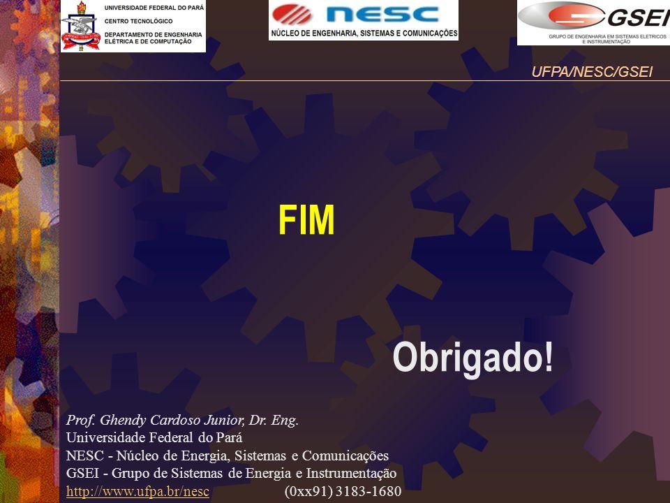 FIM Obrigado! Prof. Ghendy Cardoso Junior, Dr. Eng. Universidade Federal do Pará NESC - Núcleo de Energia, Sistemas e Comunicações GSEI - Grupo de Sis