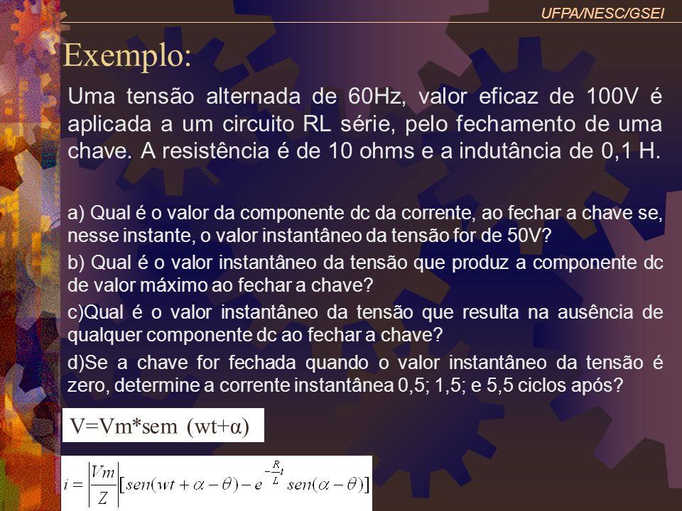 Exemplo: UFPA/NESC/GSEI Uma tensão alternada de 60Hz, valor eficaz de 100V é aplicada a um circuito RL série, pelo fechamento de uma chave. A resistên