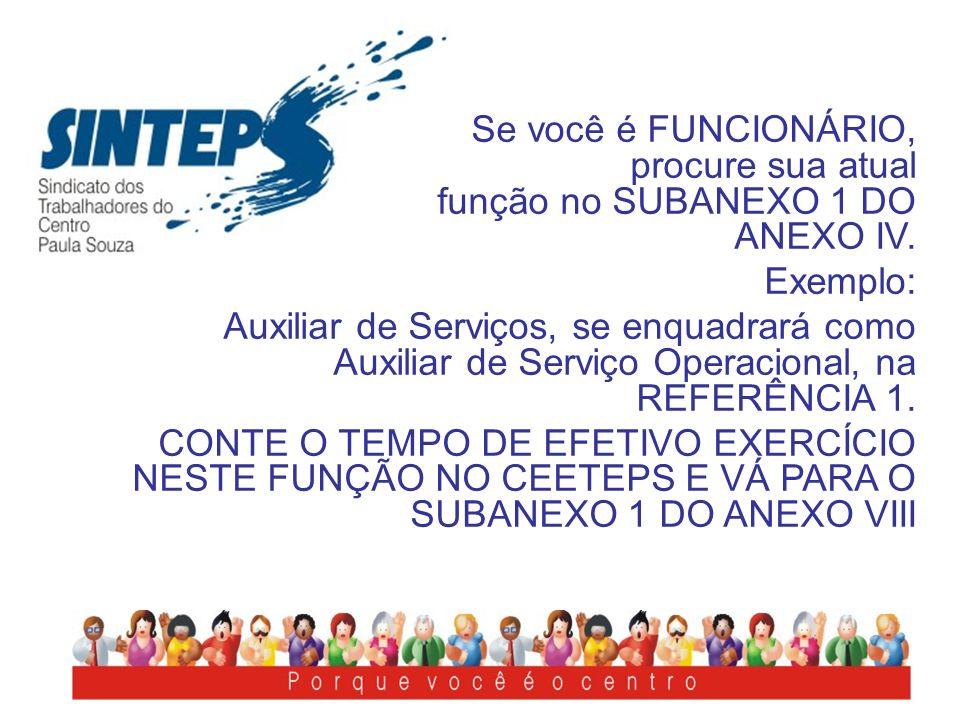 Se você é FUNCIONÁRIO, procure sua atual função no SUBANEXO 1 DO ANEXO IV. Exemplo: Auxiliar de Serviços, se enquadrará como Auxiliar de Serviço Opera
