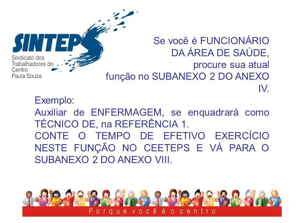 Se você é FUNCIONÁRIO DA ÁREA DE SAÚDE, procure sua atual função no SUBANEXO 2 DO ANEXO IV. Exemplo: Auxiliar de ENFERMAGEM, se enquadrará como TÉCNIC