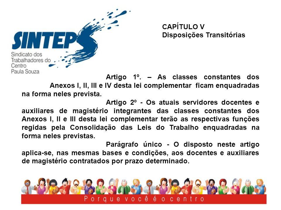CAPÍTULO V Disposições Transitórias Artigo 1º. – As classes constantes dos Anexos I, II, III e IV desta lei complementar ficam enquadradas na forma ne