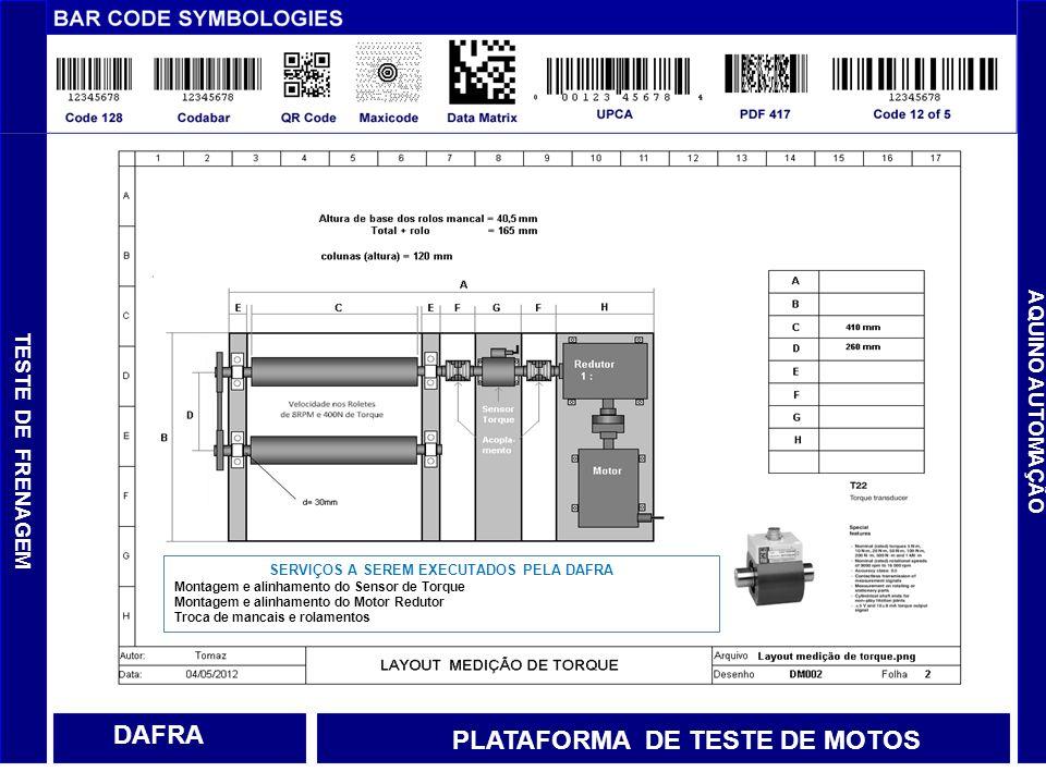 AQUINO AUTOMAÇÃO DAFRA TESTE DE FRENAGEM PLATAFORMA DE TESTE DE MOTOS SERVIÇOS A SEREM EXECUTADOS PELA DAFRA Montagem e alinhamento do Sensor de Torqu