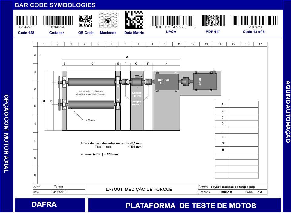 OPÇÃO COM MOTOR AXIAL AQUINO AUTOMAÇÃO DAFRA PLATAFORMA DE TESTE DE MOTOS