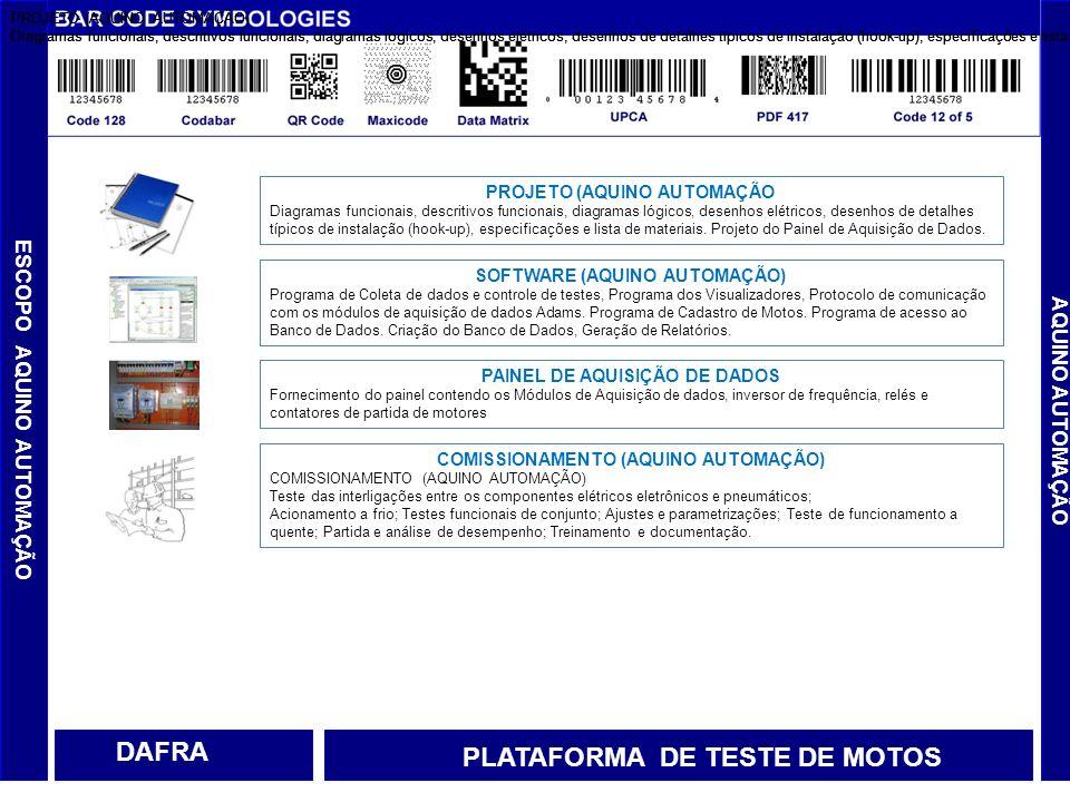 DISPOSITIVO DE EXAUSTÃO AQUINO AUTOMAÇÃO DAFRA PLATAFORMA DE TESTE DE MOTOS SERVIÇOS A SEREM EXECUTADOS PELA DAFRA Adaptação do sistema de exaustão