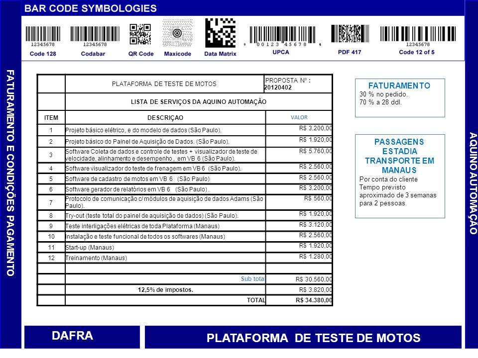 FATURAMENTO E CONDIÇÕES PAGAMENTO AQUINO AUTOMAÇÃO DAFRA PLATAFORMA DE TESTE DE MOTOS PROPOSTA N° : 20120402 LISTA DE SERVIÇOS DA AQUINO AUTOMAÇÃO ITE
