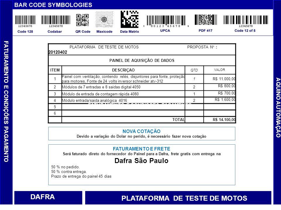 AQUINO AUTOMAÇÃO DAFRA PLATAFORMA DE TESTE DE MOTOS PLATAFORMA DE TESTE DE MOTOS PROPOSTA N° : 20120402 PAINEL DE AQUISIÇÃO DE DADOS ITEMDESCRIÇAO QTD