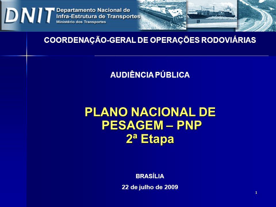 1 PLANO NACIONAL DE PESAGEM – PNP PESAGEM – PNP 2ª Etapa COORDENAÇÃO-GERAL DE OPERAÇÕES RODOVIÁRIAS AUDIÊNCIA PÚBLICA BRASÍLIA 22 de julho de 2009