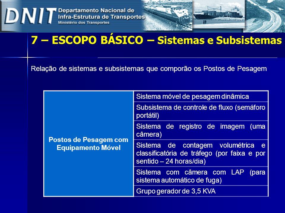 Relação de sistemas e subsistemas que comporão os Postos de Pesagem Postos de Pesagem com Equipamento Móvel Sistema móvel de pesagem dinâmica Subsiste