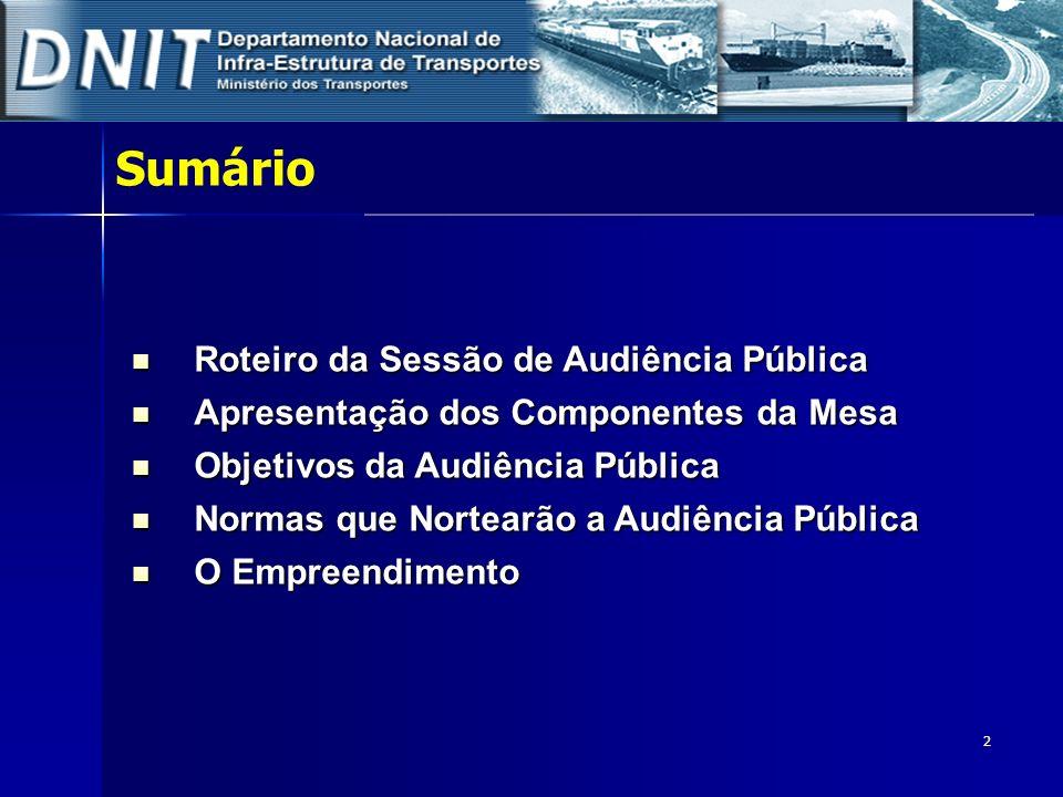 2 Sumário Roteiro da Sessão de Audiência Pública Roteiro da Sessão de Audiência Pública Apresentação dos Componentes da Mesa Apresentação dos Componen