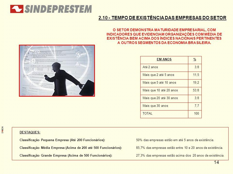 14 2.10 - TEMPO DE EXISTÊNCIA DAS EMPRESAS DO SETOR O SETOR DEMONSTRA MATURIDADE EMPRESARIAL, COM INDICADORES QUE EVIDENCIAM ORGANIZAÇÕES COM MÉDIA DE
