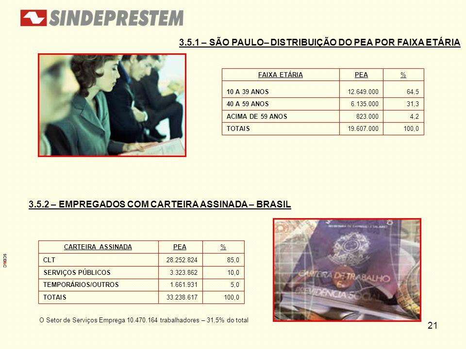 21 3.5.1 – SÃO PAULO– DISTRIBUIÇÃO DO PEA POR FAIXA ETÁRIA 3.5.2 – EMPREGADOS COM CARTEIRA ASSINADA – BRASIL 100,019.607.000TOTAIS 4,2823.000ACIMA DE