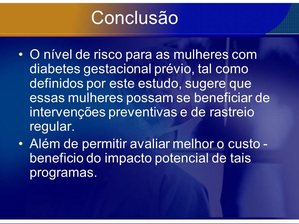 Conclusão O nível de risco para as mulheres com diabetes gestacional prévio, tal como definidos por este estudo, sugere que essas mulheres possam se b
