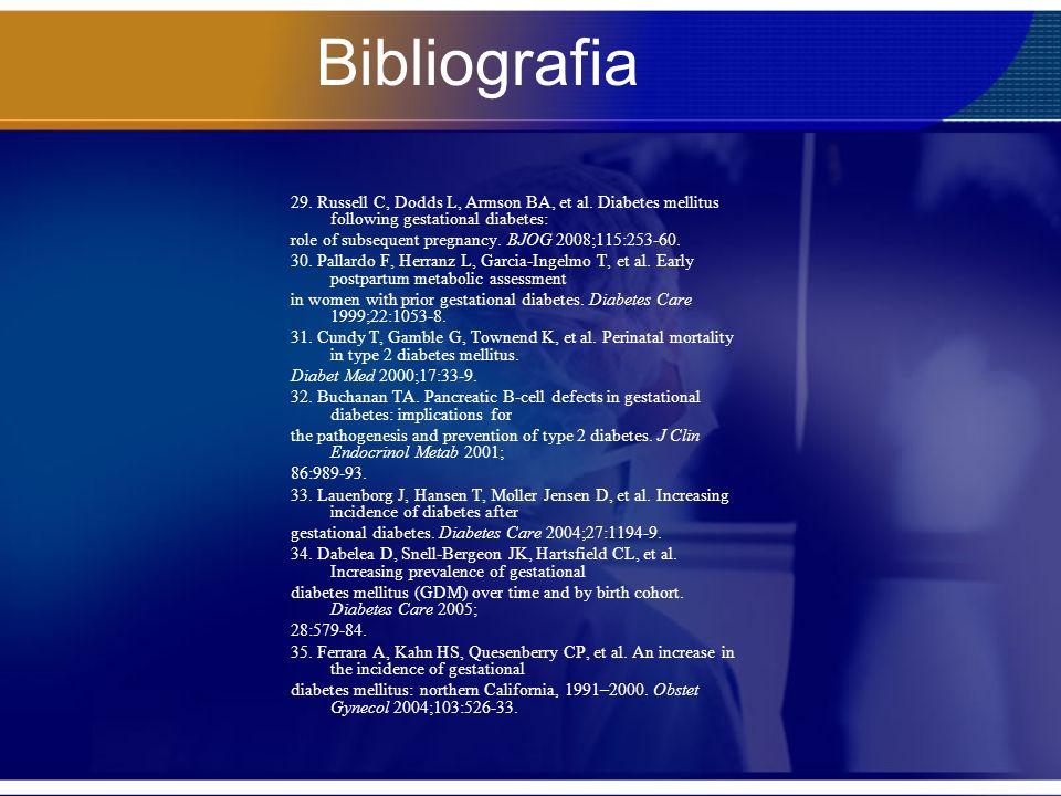 Bibliografia 29. Russell C, Dodds L, Armson BA, et al. Diabetes mellitus following gestational diabetes: role of subsequent pregnancy. BJOG 2008;115:2