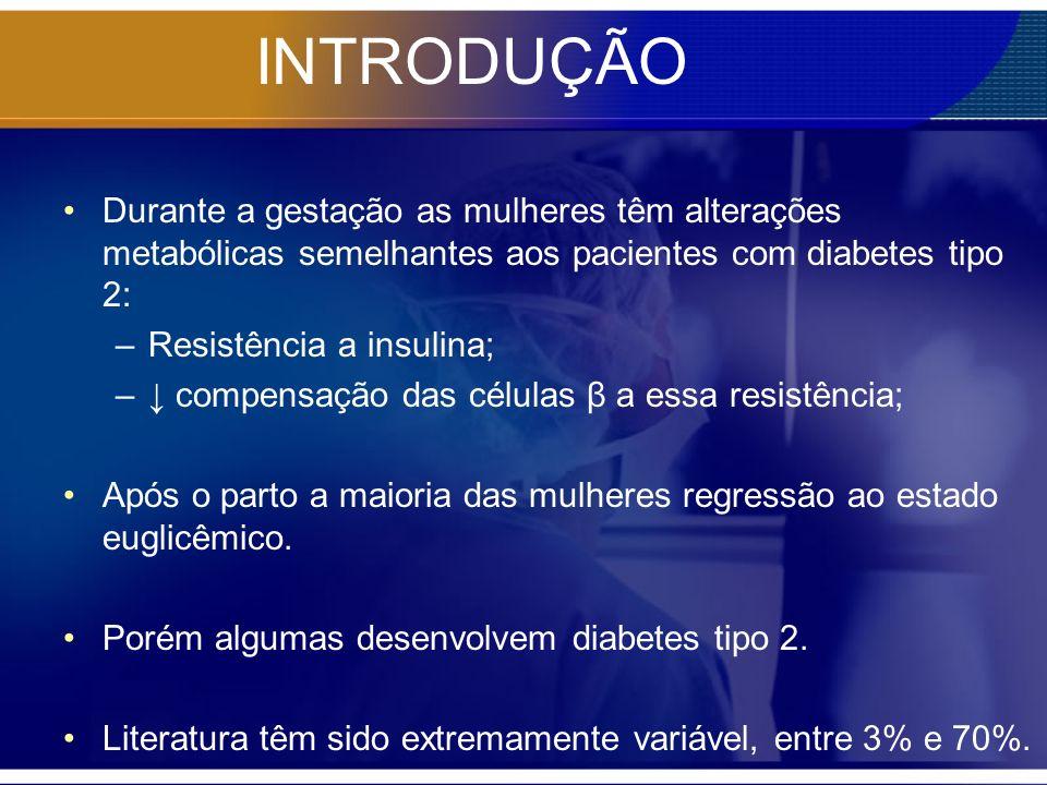Durante a gestação as mulheres têm alterações metabólicas semelhantes aos pacientes com diabetes tipo 2: –Resistência a insulina; – compensação das cé