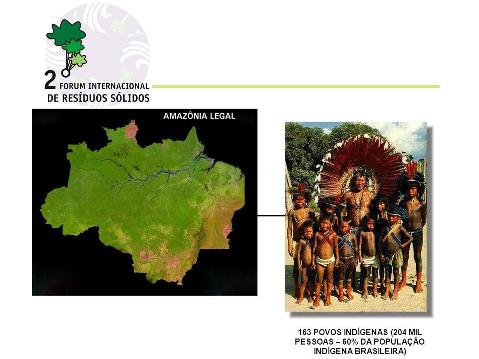 163 POVOS INDÍGENAS (204 MIL PESSOAS – 60% DA POPULAÇÃO INDÍGENA BRASILEIRA)
