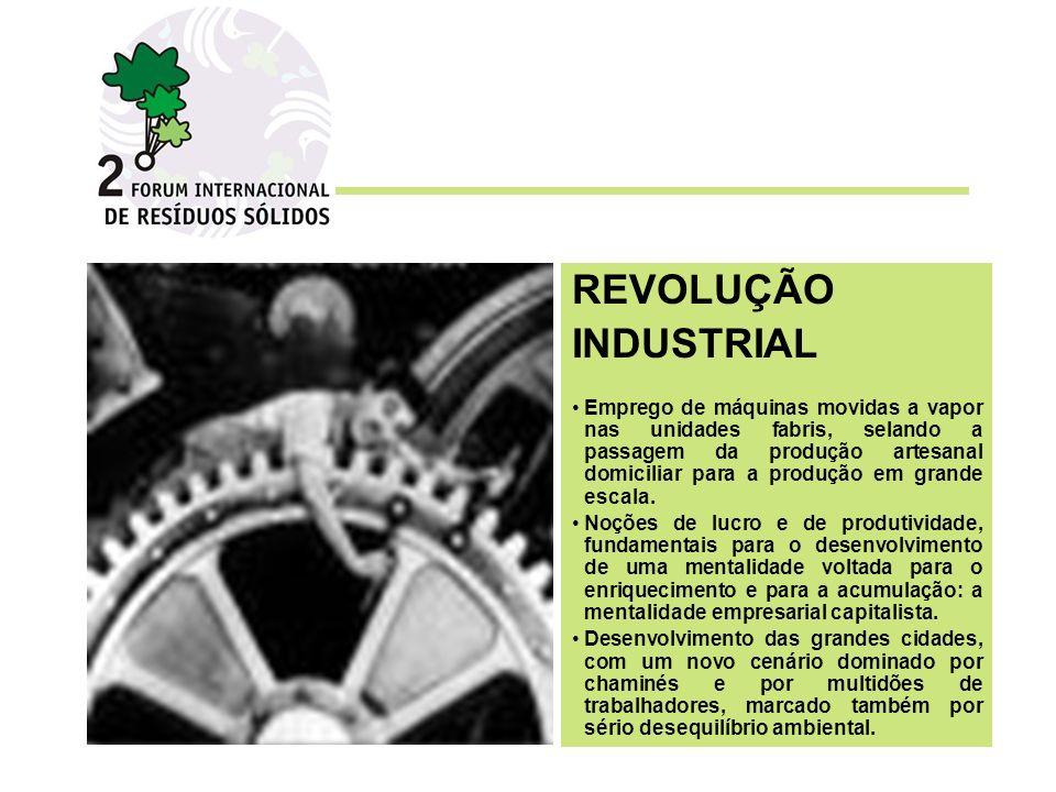 REVOLUÇÃO INDUSTRIAL Emprego de máquinas movidas a vapor nas unidades fabris, selando a passagem da produção artesanal domiciliar para a produção em grande escala.
