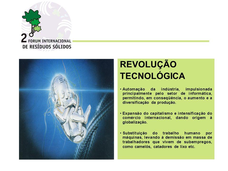 REVOLUÇÃO TECNOLÓGICA Automação da indústria, impulsionada principalmente pelo setor de informática, permitindo, em conseqüência, o aumento e a diversificação da produção.