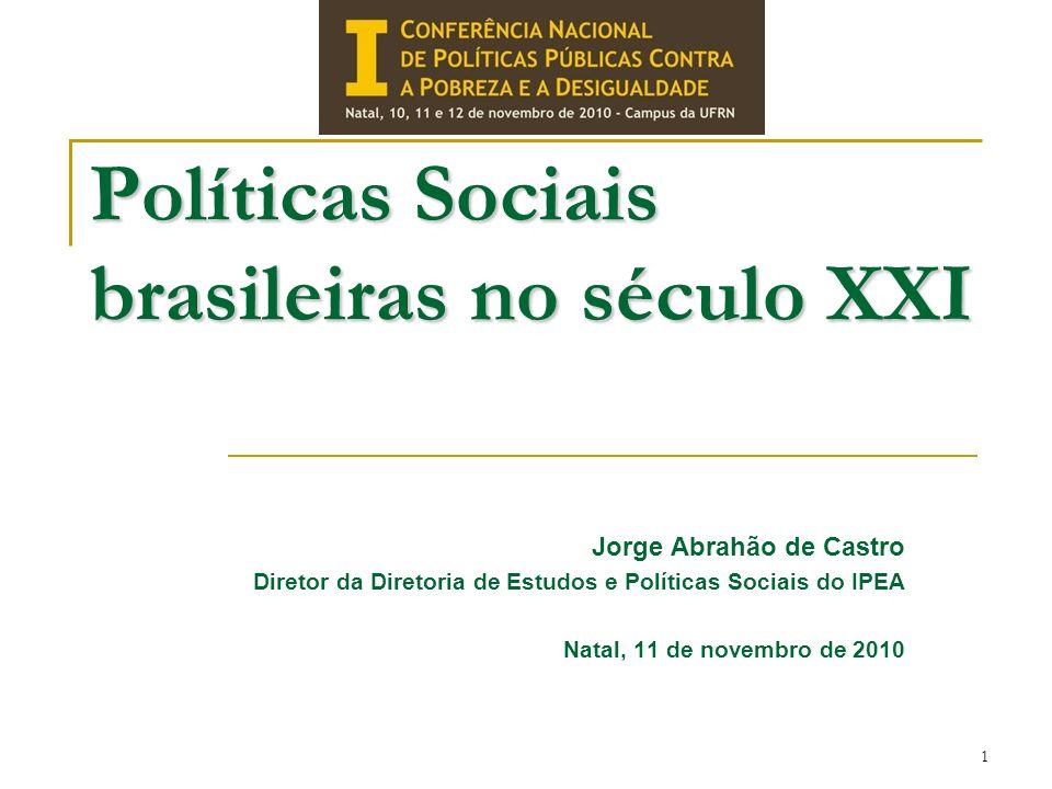 Políticas Sociais brasileiras no século XXI Jorge Abrahão de Castro Diretor da Diretoria de Estudos e Políticas Sociais do IPEA Natal, 11 de novembro