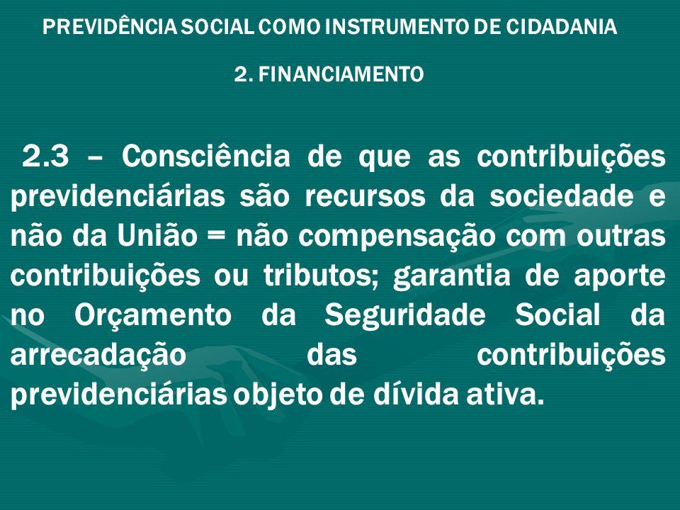 PREVIDÊNCIA SOCIAL COMO INSTRUMENTO DE CIDADANIA 2. FINANCIAMENTO 2.3 – Consciência de que as contribuições previdenciárias são recursos da sociedade