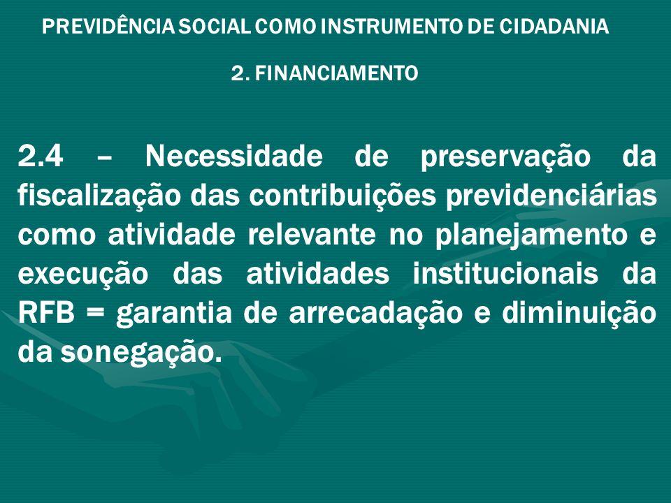 PREVIDÊNCIA SOCIAL COMO INSTRUMENTO DE CIDADANIA 2. FINANCIAMENTO 2.4 – Necessidade de preservação da fiscalização das contribuições previdenciárias c