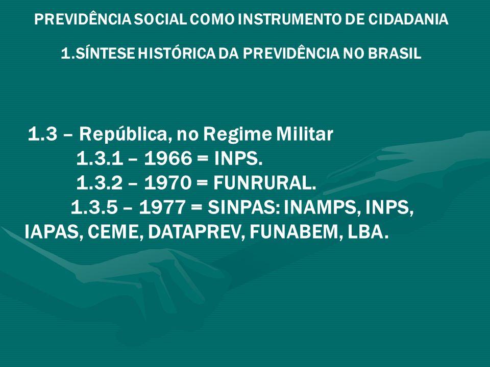 PREVIDÊNCIA SOCIAL COMO INSTRUMENTO DE CIDADANIA 1.SÍNTESE HISTÓRICA DA PREVIDÊNCIA NO BRASIL 1.4 – República, após o Regime Militar: 1.4.1 – 1988: CF = Previdência Social como instrumento de cidadania: 1.4.1.1 – Ampliação do sistema de proteção social para Seguridade Social; consolidação do sistema de Previdência Social; consolidação e ampliação da cobertura ao trabalhador rural.