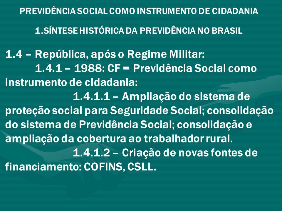 PREVIDÊNCIA SOCIAL COMO INSTRUMENTO DE CIDADANIA 1.SÍNTESE HISTÓRICA DA PREVIDÊNCIA NO BRASIL 1.4 – República, após o Regime Militar: 1.4.1 – 1988: CF = Previdência Social como instrumento de cidadania: 1.4.1.3 – Maior instrumento de redistribuição de renda e de aquecimento da economia de pequenos Municípios 1.4.1.4 – vedação constitucional do remanejamento de recursos sobre Folha de Salários para outros fins (Art.