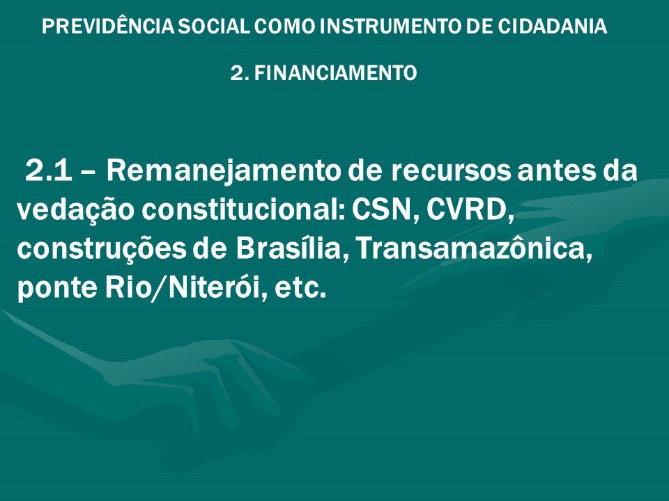 PREVIDÊNCIA SOCIAL COMO INSTRUMENTO DE CIDADANIA 2. FINANCIAMENTO 2.1 – Remanejamento de recursos antes da vedação constitucional: CSN, CVRD, construç