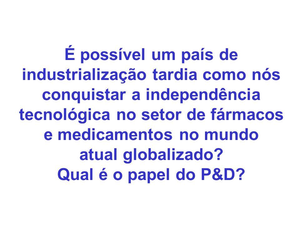 É possível um país de industrialização tardia como nós conquistar a independência tecnológica no setor de fármacos e medicamentos no mundo atual globa