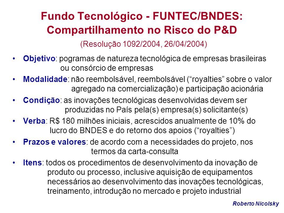 Fundo Tecnológico - FUNTEC/BNDES: Compartilhamento no Risco do P&D (Resolução 1092/2004, 26/04/2004) Objetivo: pogramas de natureza tecnológica de emp