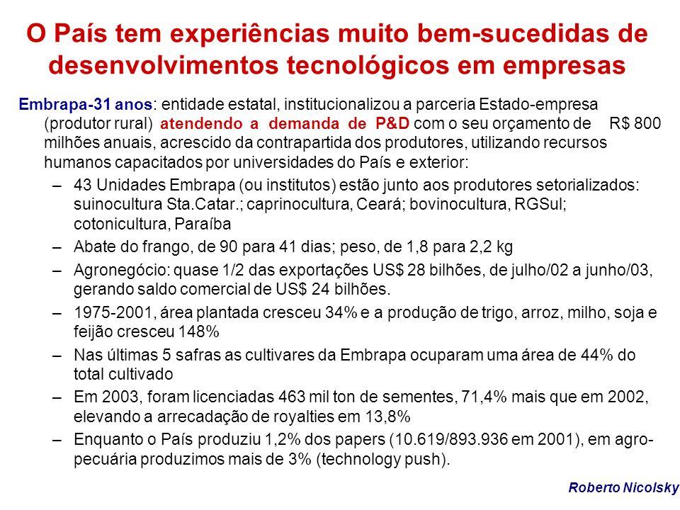 O País tem experiências muito bem-sucedidas de desenvolvimentos tecnológicos em empresas Embrapa-31 anos: entidade estatal, institucionalizou a parcer