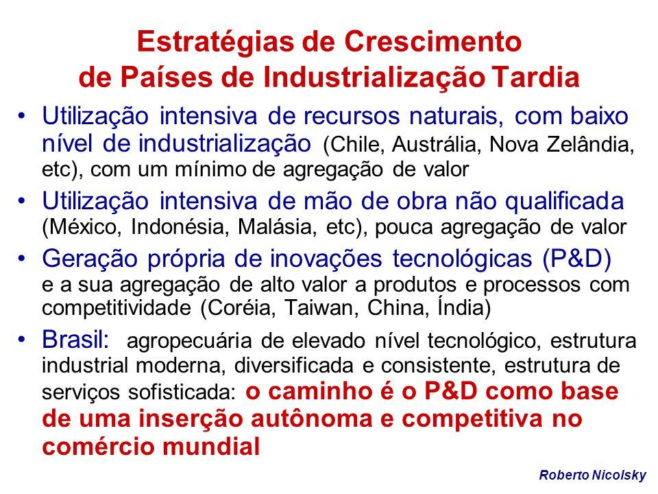 Estratégias de Crescimento de Países de Industrialização Tardia Utilização intensiva de recursos naturais, com baixo nível de industrialização (Chile,