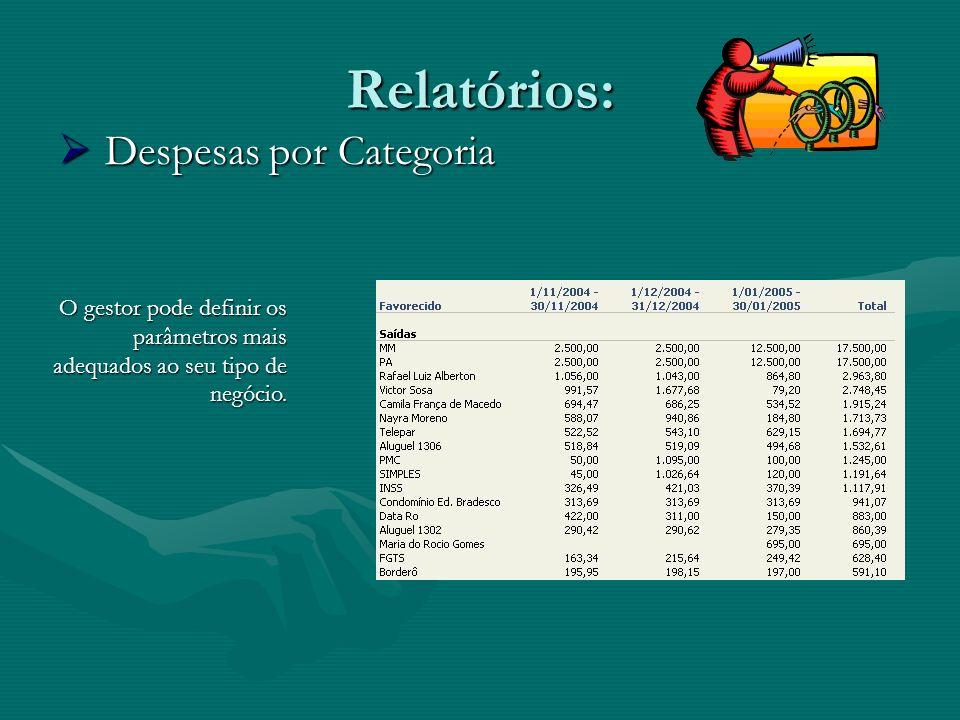 Relatórios: Despesas por Categoria Despesas por Categoria O gestor pode definir os parâmetros mais adequados ao seu tipo de negócio.