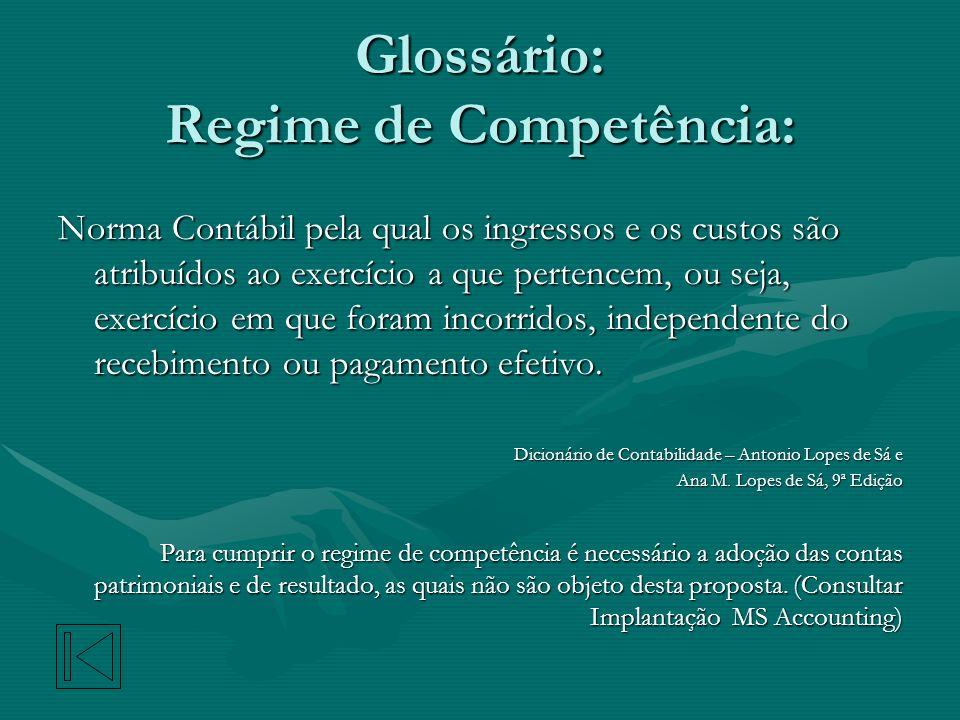 Glossário: Regime de Competência: Norma Contábil pela qual os ingressos e os custos são atribuídos ao exercício a que pertencem, ou seja, exercício em