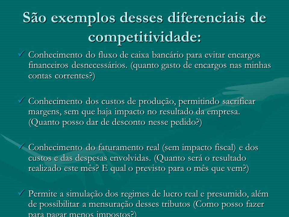 São exemplos desses diferenciais de competitividade: Conhecimento do fluxo de caixa bancário para evitar encargos financeiros desnecessários. (quanto
