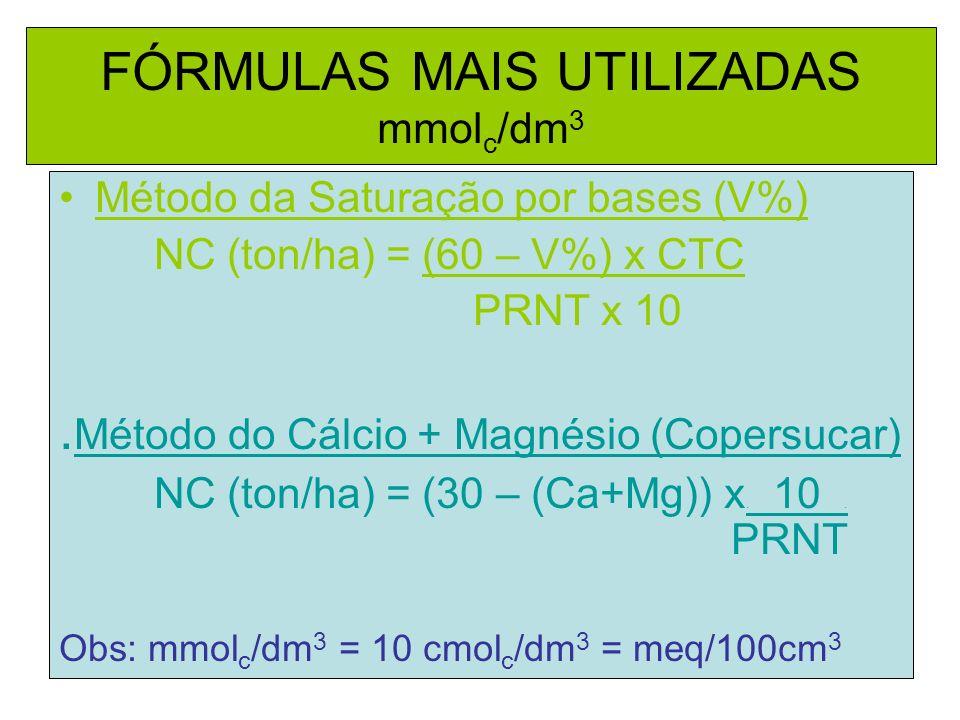 FÓRMULAS MAIS UTILIZADAS mmol c /dm 3 Método da Saturação por bases (V%) NC (ton/ha) = (60 – V%) x CTC PRNT x 10. Método do Cálcio + Magnésio (Copersu