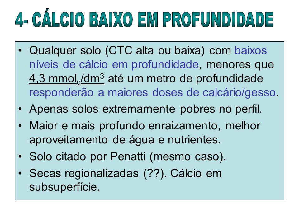 Qualquer solo (CTC alta ou baixa) com baixos níveis de cálcio em profundidade, menores que 4,3 mmol c /dm 3 até um metro de profundidade responderão a