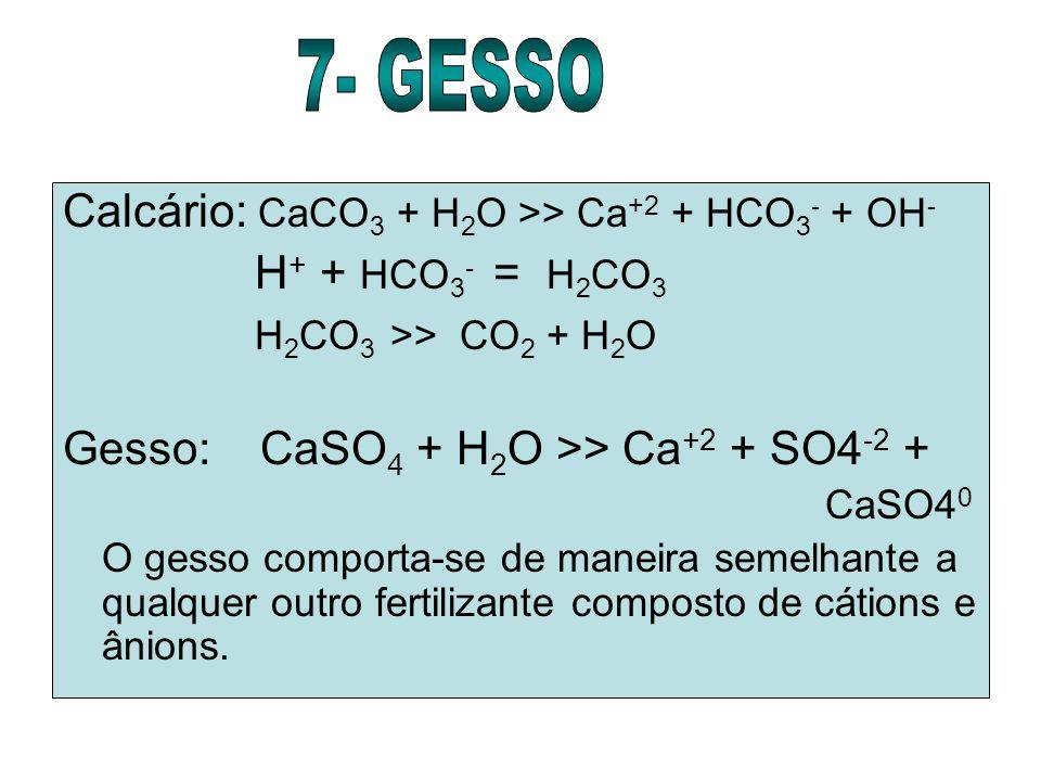 Calcário: CaCO 3 + H 2 O >> Ca +2 + HCO 3 - + OH - H + + HCO 3 - = H 2 CO 3 H 2 CO 3 >> CO 2 + H 2 O Gesso: CaSO 4 + H 2 O >> Ca +2 + SO4 -2 + CaSO4 0