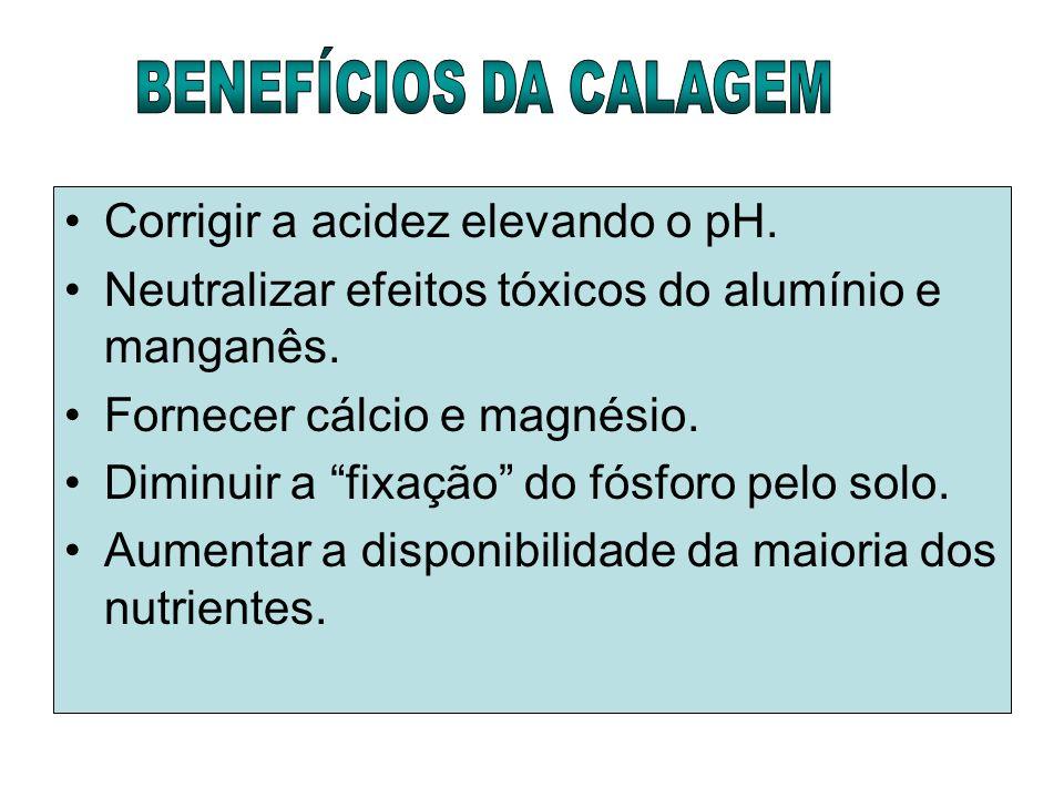 Corrigir a acidez elevando o pH. Neutralizar efeitos tóxicos do alumínio e manganês. Fornecer cálcio e magnésio. Diminuir a fixação do fósforo pelo so