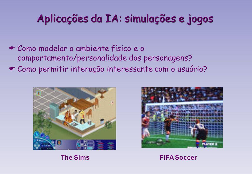 FIFA SoccerThe Sims Aplicações da IA: simulações e jogos Como modelar o ambiente físico e o comportamento/personalidade dos personagens.
