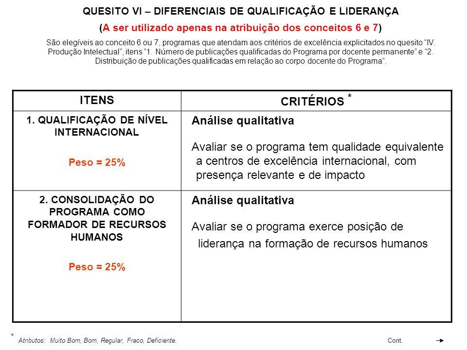 QUESITO VI – DIFERENCIAIS DE QUALIFICAÇÃO E LIDERANÇA (A ser utilizado apenas na atribuição dos conceitos 6 e 7) ITENS CRITÉRIOS * 1. QUALIFICAÇÃO DE