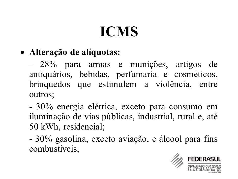ICMS Alteração de alíquotas: - 28% para armas e munições, artigos de antiquários, bebidas, perfumaria e cosméticos, brinquedos que estimulem a violênc