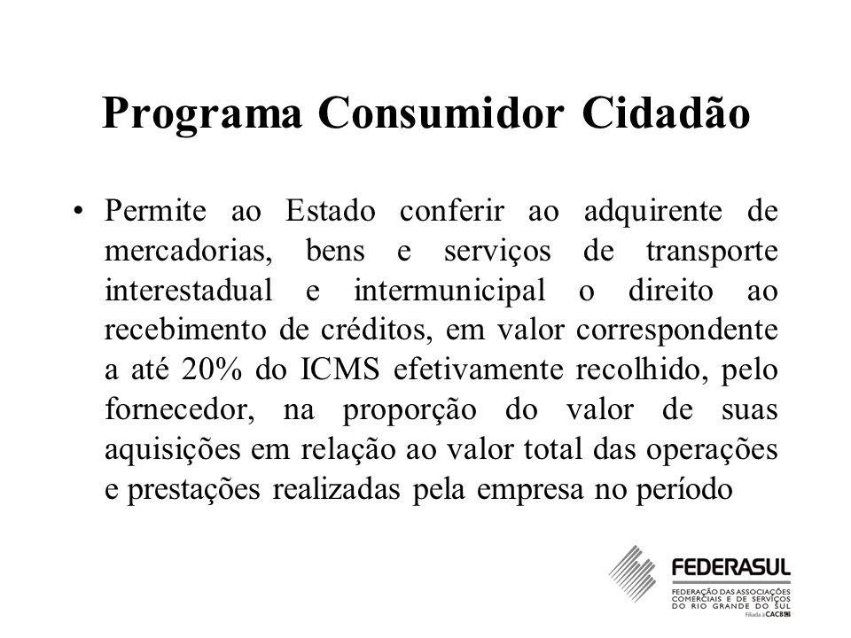Programa Consumidor Cidadão Permite ao Estado conferir ao adquirente de mercadorias, bens e serviços de transporte interestadual e intermunicipal o di