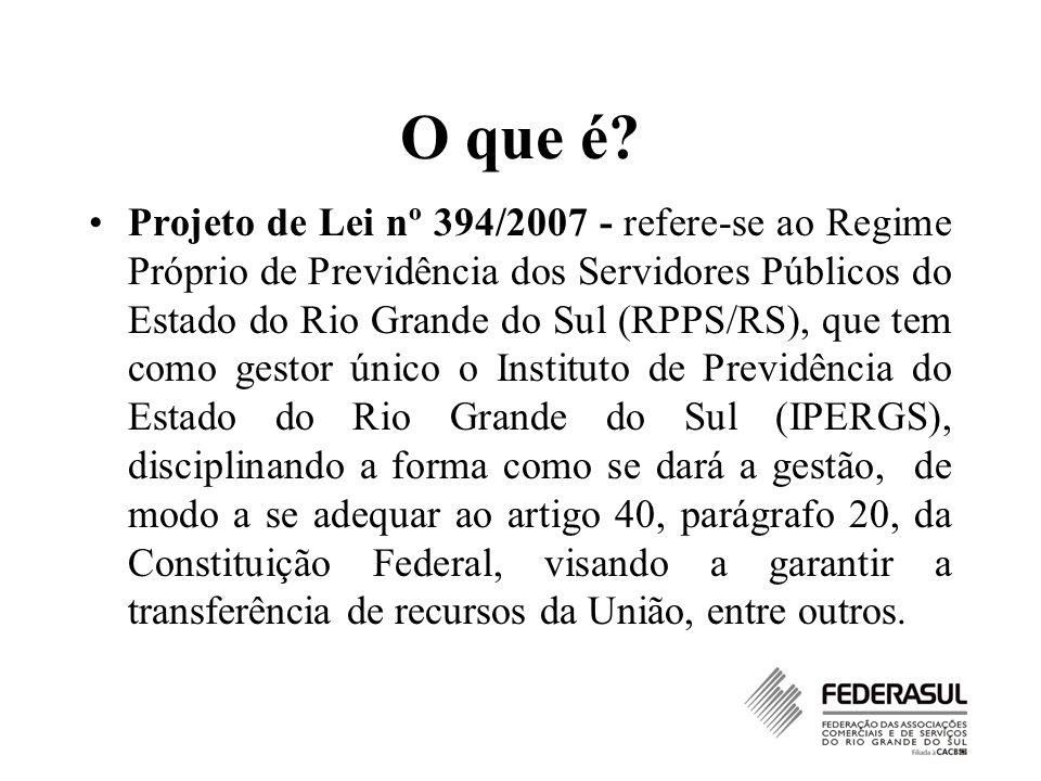 O que é? Projeto de Lei nº 394/2007 - refere-se ao Regime Próprio de Previdência dos Servidores Públicos do Estado do Rio Grande do Sul (RPPS/RS), que