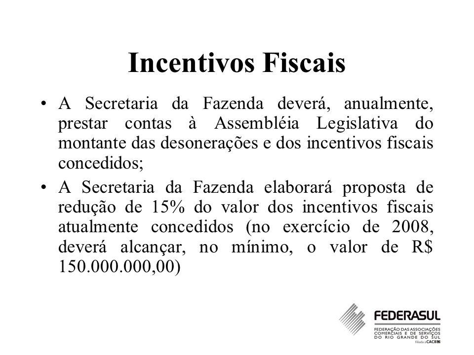 Incentivos Fiscais A Secretaria da Fazenda deverá, anualmente, prestar contas à Assembléia Legislativa do montante das desonerações e dos incentivos f