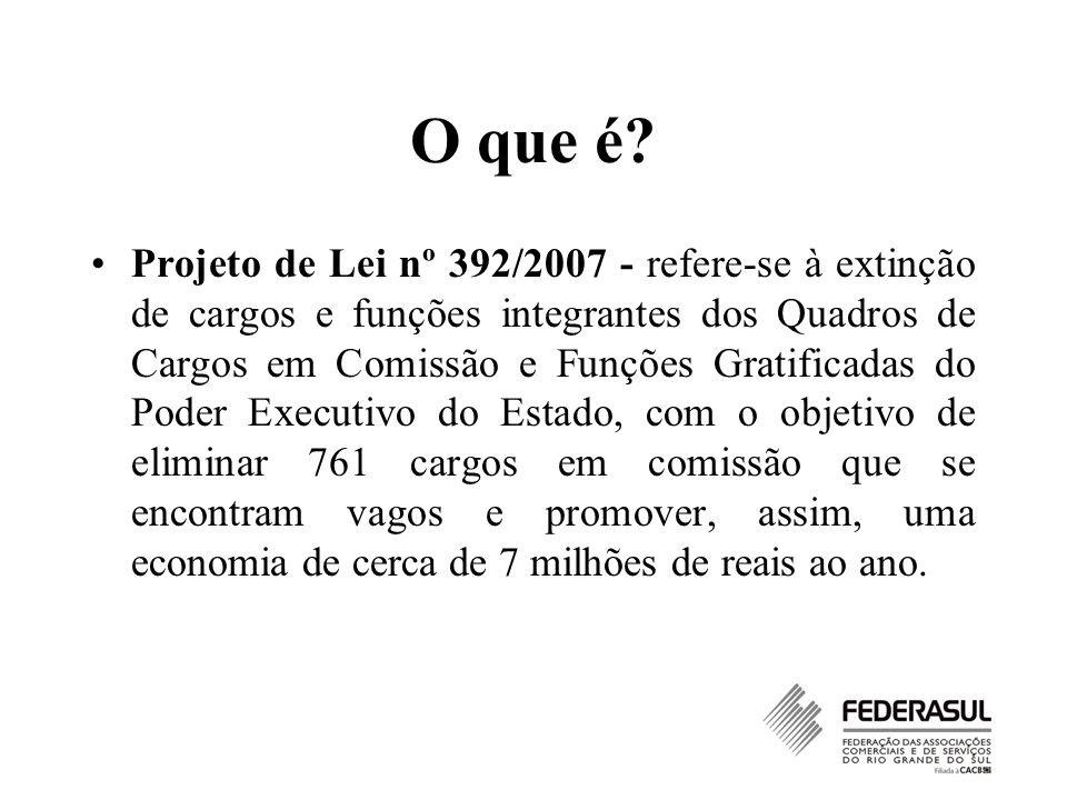 O que é? Projeto de Lei nº 392/2007 - refere-se à extinção de cargos e funções integrantes dos Quadros de Cargos em Comissão e Funções Gratificadas do