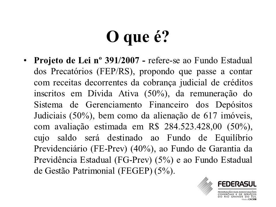 O que é? Projeto de Lei nº 391/2007 - refere-se ao Fundo Estadual dos Precatórios (FEP/RS), propondo que passe a contar com receitas decorrentes da co