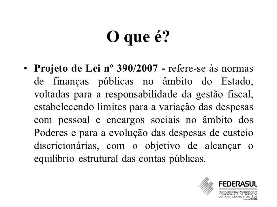 O que é? Projeto de Lei nº 390/2007 - refere-se às normas de finanças públicas no âmbito do Estado, voltadas para a responsabilidade da gestão fiscal,