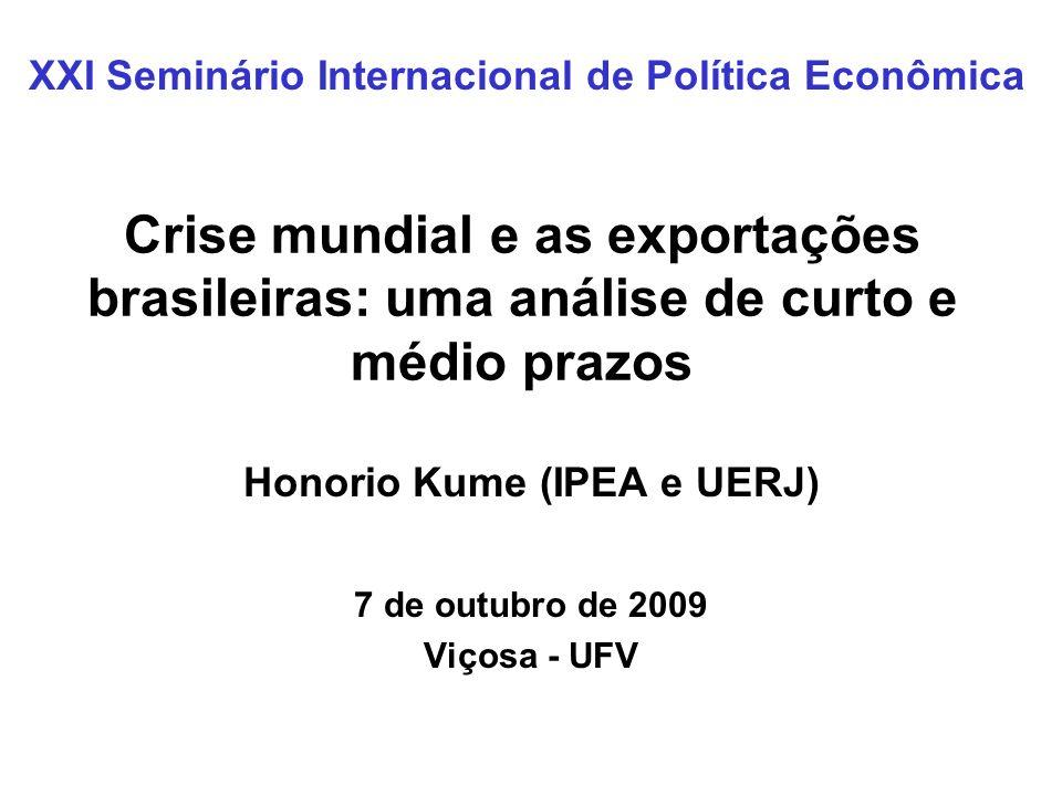 Crise mundial e as exportações brasileiras: uma análise de curto e médio prazos Honorio Kume (IPEA e UERJ) 7 de outubro de 2009 Viçosa - UFV XXI Semin